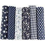 UOOOM 6 Stueck 50 x 50cm Stoffpakete Patchwork Stoffe Baumwolle tuch DIY Handgefertigte Nähen Quilten Stoff Baumwollgewebe Verschiedene Designs (Navyblue)