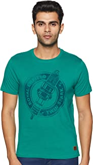 Royal Enfield Aqua Green Cotton T-Shirt for Men Size (XL) 44 CM (RLATSK000022)