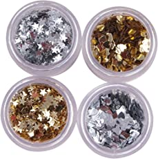 Midas Glitter 4 Container Art Craft and Nail Art in different Colors in Star and Heart Shape