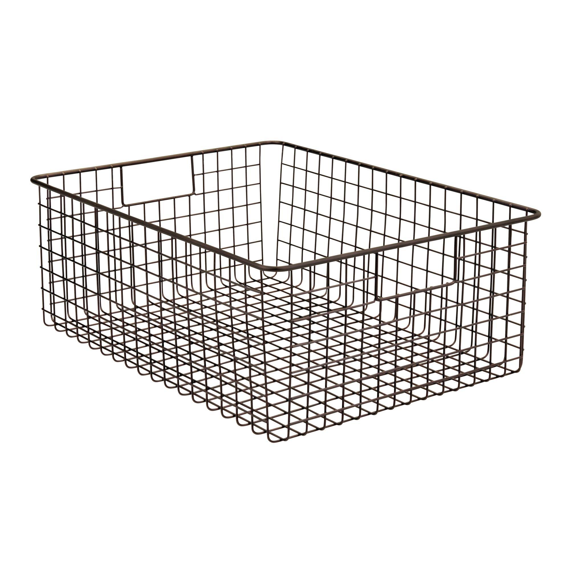 Organizador de cosm/éticos para el ba/ño gris oscuro Cesto de alambre ancho con atractivo dise/ño de rejilla mDesign Juego de 4 cestas de metal con asas integradas