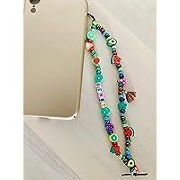 Phone strap perline charm Green personalizzato con lettere o nome. Porta cellulare da polso e gioiello per il tuo…