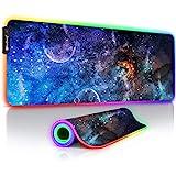 RuoCherg RGB Tappetino Mouse Gaming, 10 LED Colori e Effetti di Luce Grande Mouse Pad, Resistente all'Acqua Superficie, Base