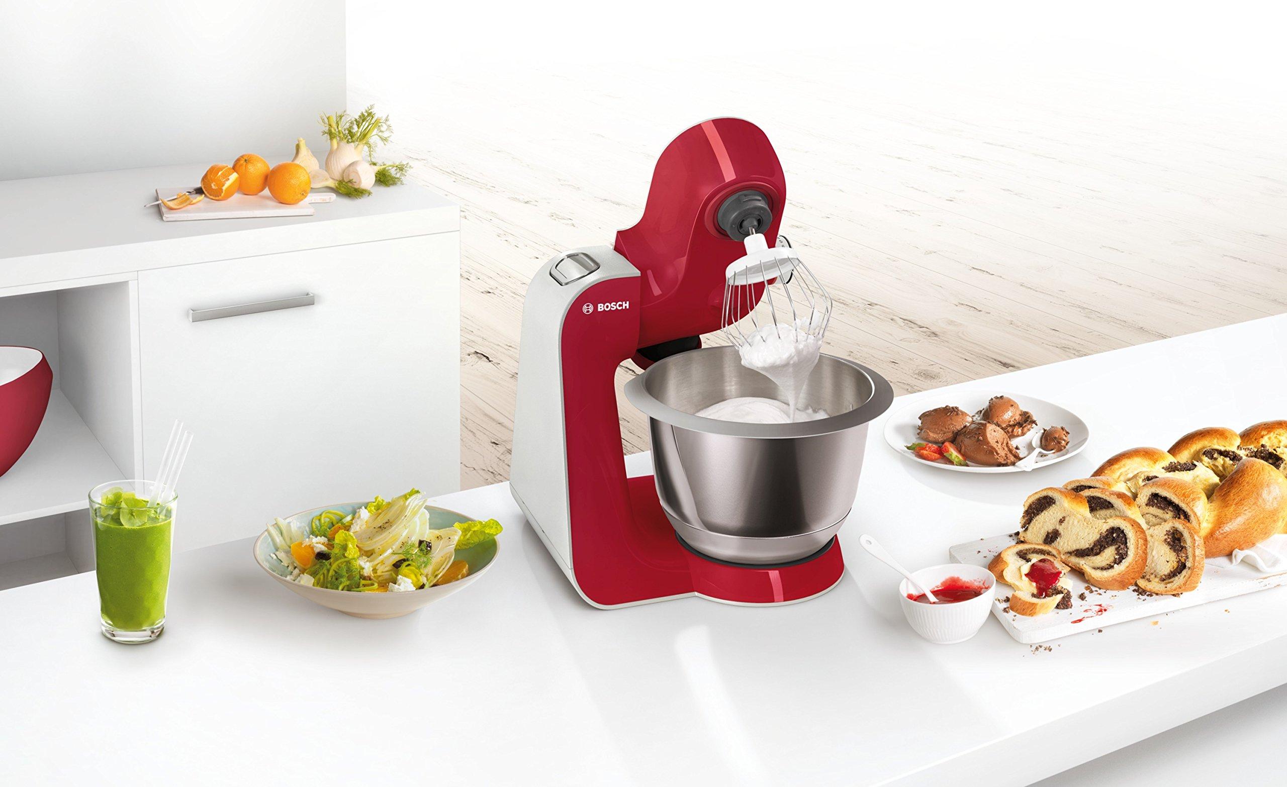 Bosch-MUM5-MUM58720-CreationLine-Kchenmaschine-1000-W-3-Rhrwerkzeuge-Edelstahl-splmaschinenfest-Rhrschssel-39-Liter-max-Teigmenge-27kg-Durchlaufschnitzler-3-Scheiben-Mixaufsatz-rot