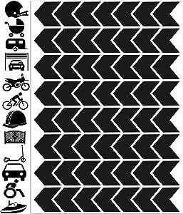 Biomar Labs Reflektoren Reflektierende Aufkleber Reflexfolie Schwarz Stickers Set 56 Stück Selbstklebende Reflektierende Reflektor Sicherheitsaufkleber Sicherheitspfeil D 50 Auto