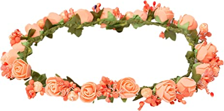Loops n Knots Princess Flora Collection Orange Tiara/Crown/Headband for Girls & Women- Hair Accessories for Birthday Party & Wedding-Gift for Girls