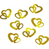 100decorazioni a doppio cuore dorato, per scrapbooking, per decorazioni, per decorazioni nuziali