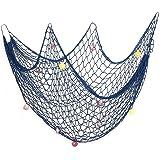 Aofox, Rete da pesca decorativa, per feste a tema pirati e spiaggia, Blu, 1 m x 2 m