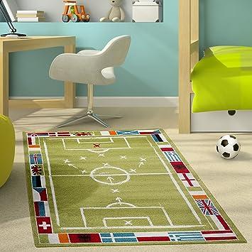 Kinderteppich Modern Kinderzimmer Teppich Fußballplatz Für Jungen in ...
