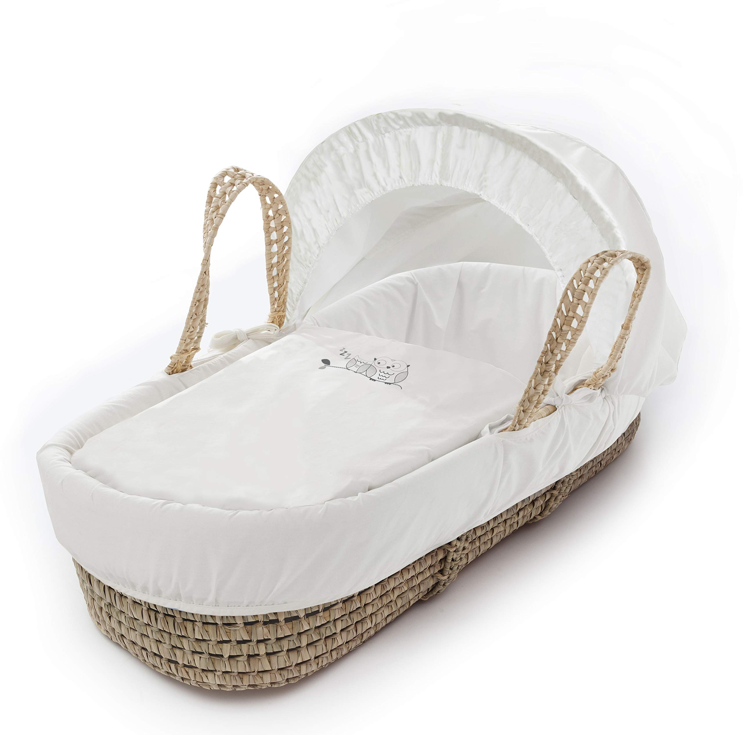 Sleepy Little Owl Palm Moses Basket & Folding Stand Elegant Baby Suitable from newborn for up to 9kg, this Moses Basket uses Easy-care Poly Cotton with a soft padding surround Suitable from newborn to 9 months It also includes a comfortable mattress and an adjustable hood perfect to create a cosy sleeping space for your precious little one 4