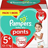 Pampers Couches-Culottes Baby-Dry Pants Taille 5+ (12-17kg) Maintien 360° pour Éviter les Fuites, Faciles à Changer, 120 Couc