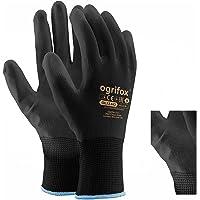 24 Pairs PU Coated Black Nylon Work Gloves. Gardening, Builders, Mechanic and round sticker AJS LTD® (L-9)