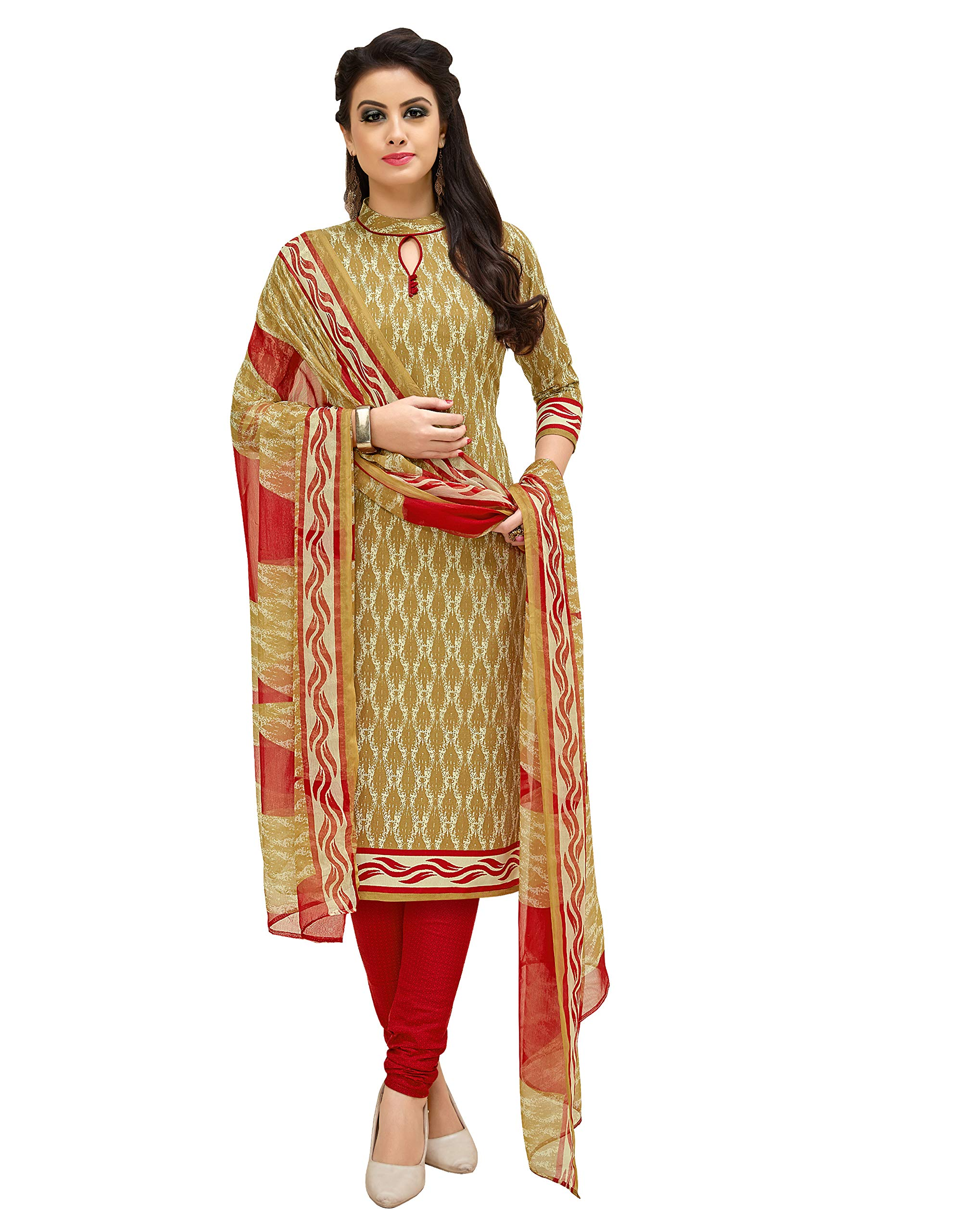 f0957f9ca5 Viva N Diva Salwar Suit Dupatta For Women's Beige Cotton Printed Un ...