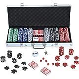 HOMCOM Maletín de Poker Profesional con 500 Fichas y 2 Barajas Juego Set de Poker Casino Aluminio 5 Dados, 2 Barajas y 1 Fich