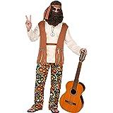 WIDMANN – Costume da hippie, top con gilet, pantaloni, cintura, fascia per capelli, Flower Power, travestimento, carnevale, f