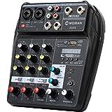 Table-Mixage-Audio-USB-Bluetooth, Moman AM4 Mélangeur de 4 canaux Entrée Mono Stéréo Alimentation Fantôme 48V pour l'Accord d