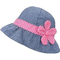 Bambine Cappello da Sole in Denim Bimba Cappello Estate a Pois e Fiore Magenta Cappello da Pescatore Cotone Vacanza…