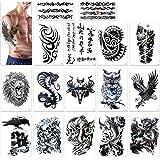 Tatuajes temporales para adultos hombres, Konsait Grande Tatuaje Temporales temporär Tattoo tatuaje cuerpo pegatinas Brazo pe