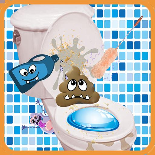 Sauberes Badezimmer - Toilette aufräumen -