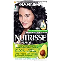 Garnier Nutrisse Permanent Hair Dye, Natural-looking, hair colour result, For All Hair Types, 1 Black