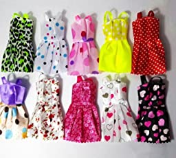 P S Retail Handmade Dress Fashion Clothes for Barbie Doll Play House(Multicolour) - set of 10 pcs