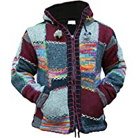 Unisex Multicoloured Patchwork Hooded Cardigan Coat Long Sleeve Ethnic Hippie Knitted Hoodie Jacket with Pocket for Men