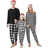 Irevial Pijamas de Navidad Familia Conjunto Algodón Pijama Navidad Familia Ropa de Dormir Raya Pijama Familiar a Juego Navida
