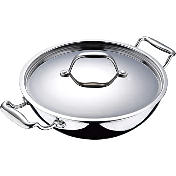 Bergner Argent Stainless Steel Wok with Lid, 20cm