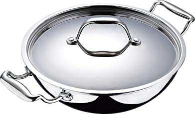 Bergner Triply Argent Kadai with Lid, Silver