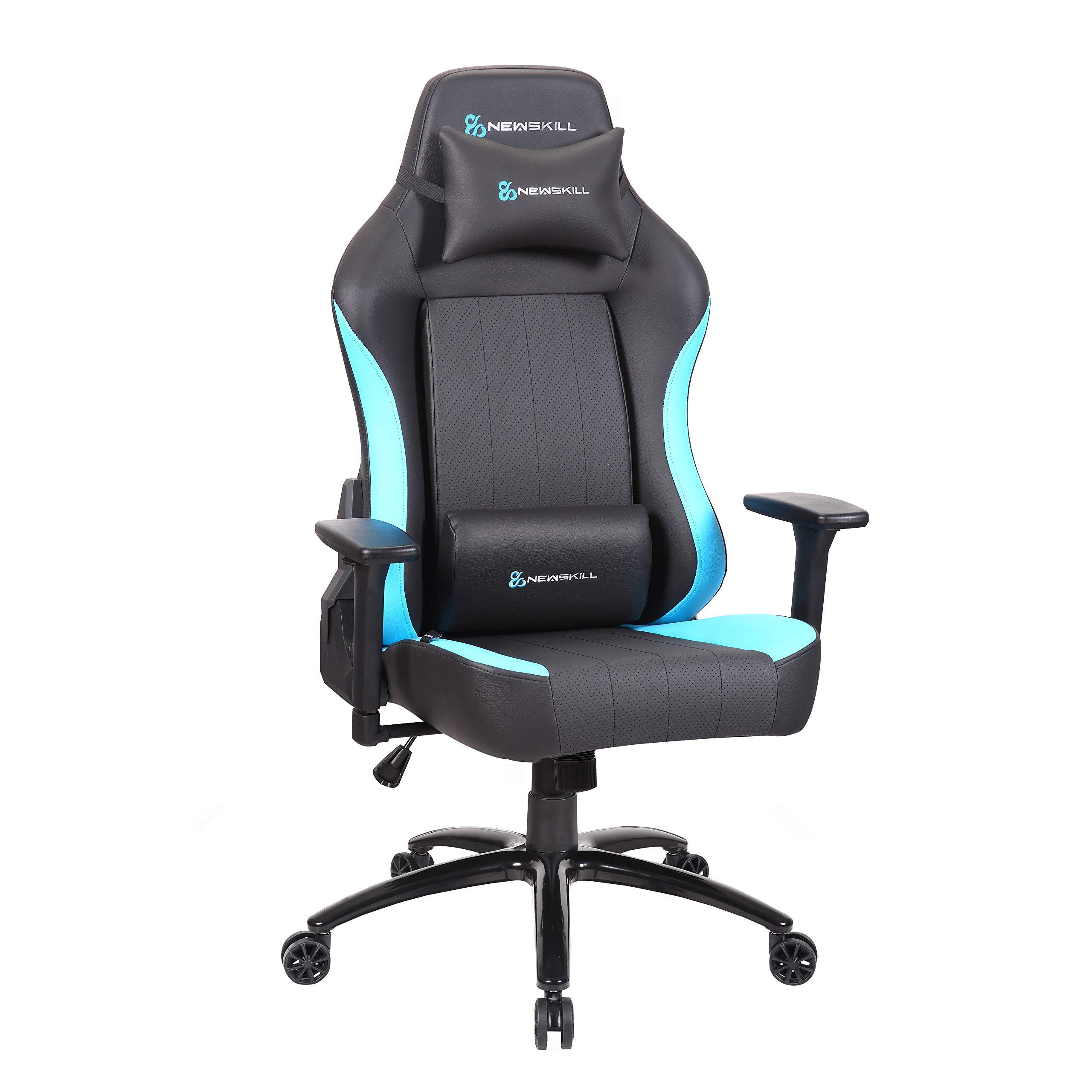 Newskill Akeron – Silla gaming profesional con marco de acero reforzado (sistema de balanceo, reclinable hasta 180 grados, reposabrazos 3D) – Color Azul