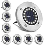 [Lot de 8]16 LEDs Lampes Solaires Exterieures Jardin, Solaire Extérieur, Lumiere Solaire Exterieur étanche IP65, Spot LED Enc