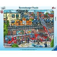 Ravensburger- Puzzle Cadre 30-48 pièces-Les Pompiers sur la Voie ferrée Enfant, 4005556050932