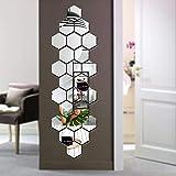 Bikri Kendra® Hexagon 24 Silver - 3D Acrylic Mirror Wall Stickers