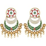 The Luxor Fancy Gold Non-Precious Metal Meenakari Jhumki Chandbali Earring for Women