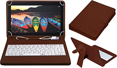 ACM USB Keyboard Case for Lenovo Tb-X103f Tablet Cover Stand with Free Micro USB OTG - Brown