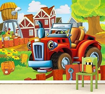 Fototapete kinderzimmer traktor  Vlies XXL-Poster Fototapete Tapete Kinder kleiner roter Traktor ...