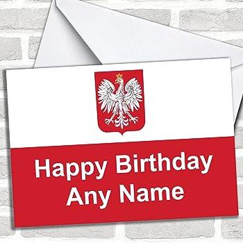 Polish Flag Poland Personalised Birthday Card Amazon Office