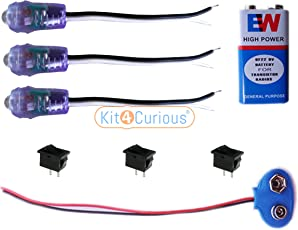 3 Project LED Light with 9v Bat, Connector, Switch
