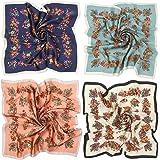 KAVINGKALY 4 piezas de bufanda cuadrada de satén similar a la seda para mujer, bufandas de pelo con estampado ligero de 27 x