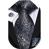 ربطة عنق للرجال كلاسيك أسود رمادي ربطة عنق مربع وأزرار أكمام مجموعة هدية