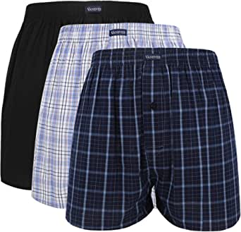 VANEVER Cotton Men's Boxers, Woven Boxer Shorts, Men's Knit Boxer Briefs, Men's Plaid Boxershorts, Loose Fit Boxer Underwear, Everyday Guys Boxer Trunks, Button Fly Pattern Boxers, 3 Packs