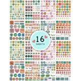 Arcobis Planner Stickers - Various Themes; Monthly, Weekly, Daily Planner Sticker Set - 16 Sheets of Colorful Stickers for Planner, Journal, Calendar, Scrapbook, and Agendas.