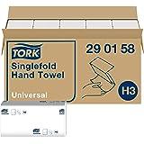 Tork Essuie-mains pliés en V Universal - 290158 - Papier d'essuyage pour Distributeur H3 - pli en V, 1 pli, blanc - 15 x 300