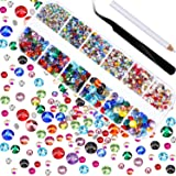 Jovitec 2000 Stück Hot Fix Glas Flache Rückseite Strasssteine HotFix Runde Kristall Edelsteine 1,5-6 mm (SS4-SS30) in Aufbewahrungsbox mit Pinzette und Pflücken Strass Pen (Mehrfarbig)