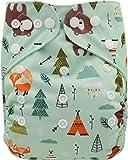Ohbabyka Reusable Washable Baby Boys/Girls Pocket Cloth Diapers with 1pc Insert (Unicorn-OB187)