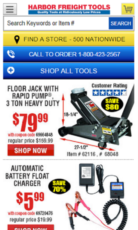 Get the App Printable Coupons Coupon Codes Grocery Coupons Stores Categories Holiday Blog. Harbor Freight Tools Coupons. Home / Home & Garden / Tools / Harbor Freight Tools. from shoppers. All Coupons. In-Store. Promo Codes. Print Coupon Show Coupon. Used 41 times. Save $ on a full motion tv wall mount.