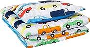 AmazonBasics Kid's Comforter Set - Soft, Easy-Wash Microfiber - Twin, Multi-Color Racing Cars