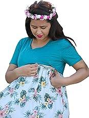 Gravidanza9 Women Rayon Floral Beach Cool Maternity Dress Pregnancy Nursing Maxi Dress