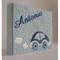 Album fotografico artigianale macchinina AUTOMOBILINA in carta luna con nome INTAGLIATO in tela personalizzabile regalo…