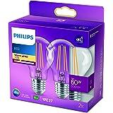 Philips ampoule LED Standard E27 60W Blanc Chaud Claire, Verre, Lot de 2