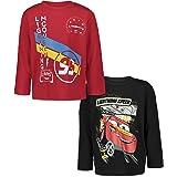 Disney Rayo McQueen - Juego de 2 camisetas gráficas de manga larga, color rojo y negro